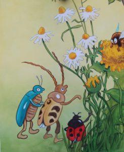Wandmalerei an einem Gartenhaus